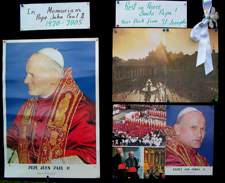 Pictures of Pope John Paul II displayed on church walls - April 3, 2005