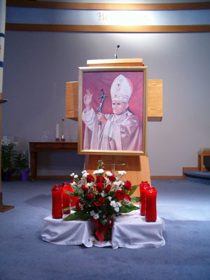 Picture of Pope John Paul II on the alter April 3, 2005